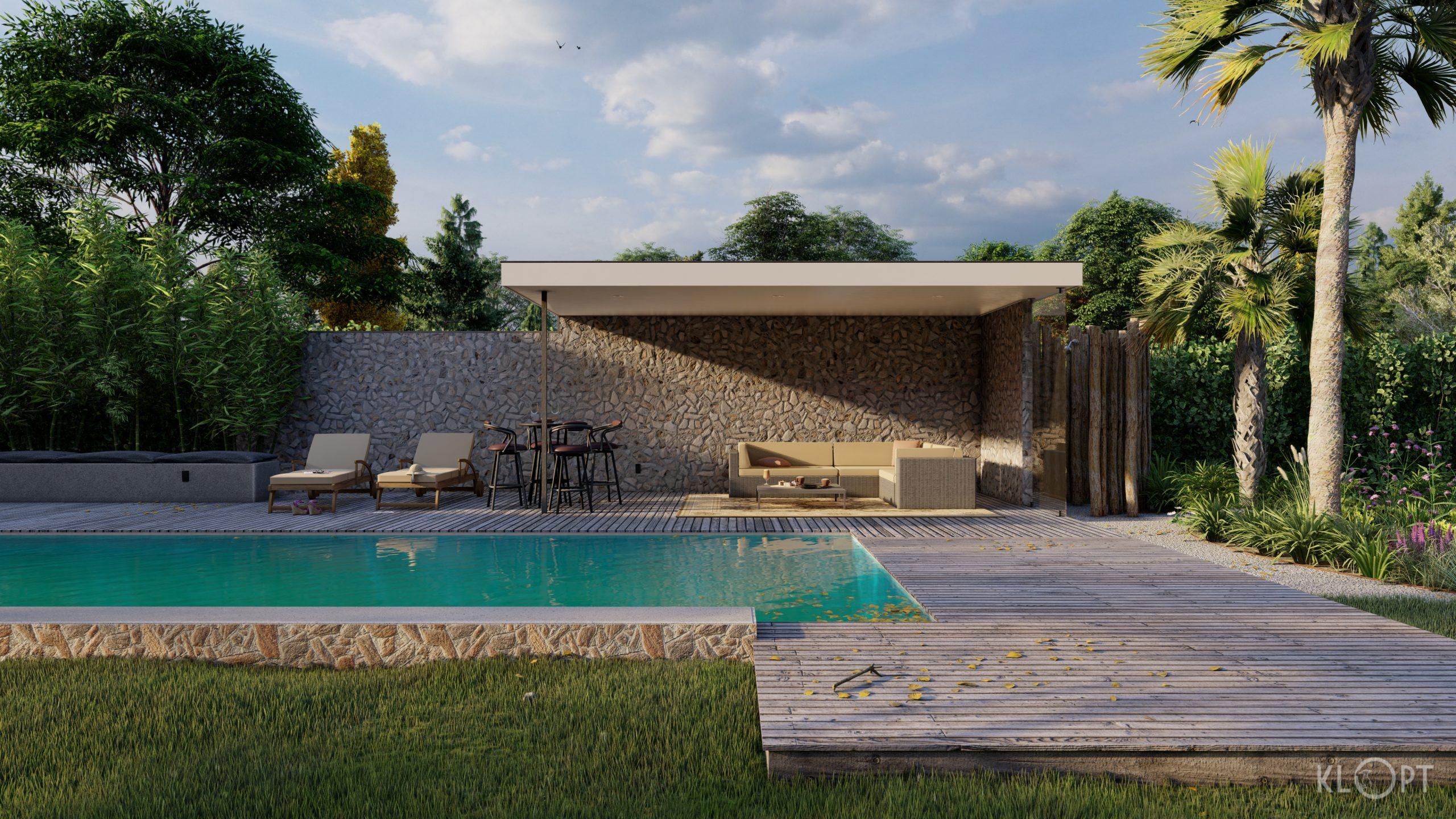 Tropische tuin 3D tekening